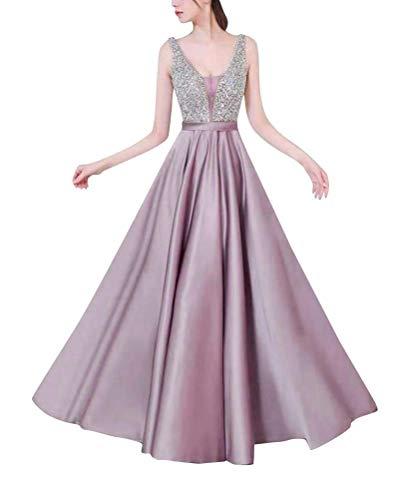 Minetom Damen Festlich Hochzeit Kleider Glänzend Sequin Elegant Lang Abendkleid V-Ausschnitt...