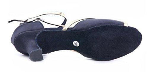 Chaussures Professionnel Latin Femme Fille Sandales Satin Salsa Supérieure / Ballroom Chaussures De Danse Med (autres Couleurs) Noir