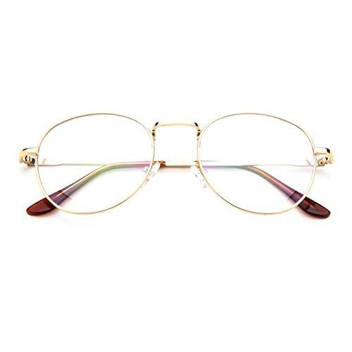 Meijunter Männer Frauen Retro Runde Rezept Brillen Rahmen Clear Lens Brillen (Brille Männer Rezept)