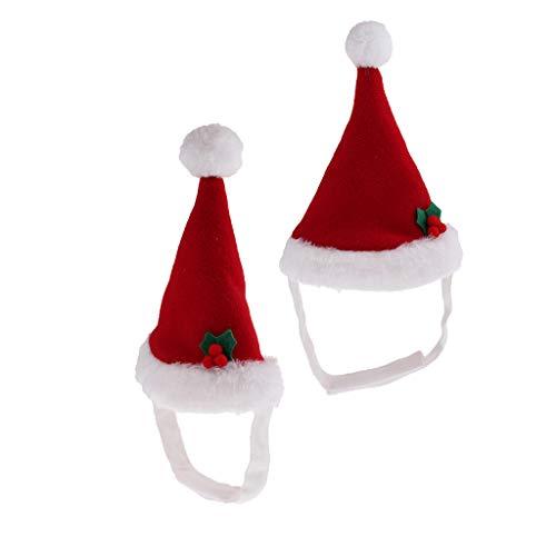 FLAMEER 2 Stücke Katze Hündchen Weihnachten Red Hat Cap Für Haustier Halloween Urlaub Neujahr Weihnachtsfeier Warme Kostüm Zubehör