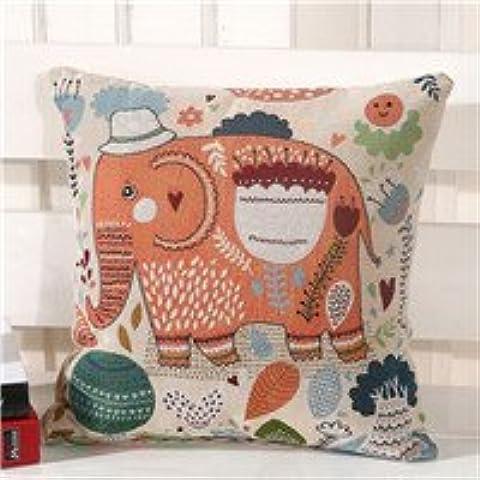 Wrone (TM) elefante Impreso de lino del amortiguador para el sof¨¢ decorativo Bote Algod¨®n Sof¨¢ Sof¨¢ Decoraci¨®n 45x45 cm / 17.7x17.7 '' B06