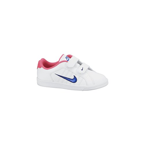 Nike Mädchen, Sneaker, Court Tradition 2 Plus (Psv) Blanco / Azul / Rosa (White / Hypr Cblt-Hypr Pnk-Dp Ry)