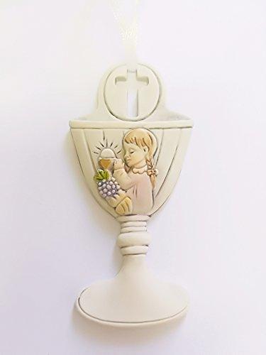 Takestop® set 12 pezzi bomboniera bomboniere comunione bambina calice simbolo sacro sacramento eucarestia calice bianco ceramica appendino