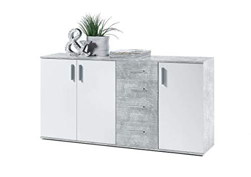 Avanti trendstore - bea - comò e cassettiere, in legno laminato e bianco, disponibile in 2 diversi colori e 3 diverse dimensioni (grigio-bianco, 160x82x35 cm)