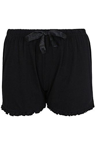 yoursclothing Femme Plus Taille pyjama pour homme en coton avec volants bord Noir - Noir