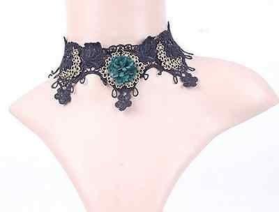 Estilo Vintage & de encaje negro flor verde Gótico False Collar Garga