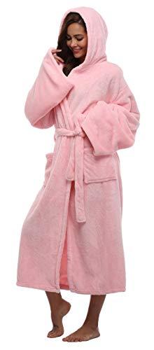 Kapuzen-Bademantel aus Samt, sehr weich, Winter-Fleece, Plüsch - Pink - Small/Medium ()