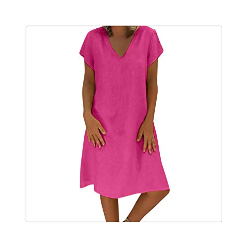Women Summer Cotton Linen Long Sleeve V-Neck Ladies Casual Loose Short Dress Holidays Vacation Casual Solid Dress Hot Pink M Red Velvet Holiday-outfit