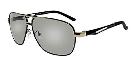 rainbow safety Herren Selbsttönende Sonnenbrille Auto Brille Nachtsichtbrille Photochromatische Polarisierte Gläser RWNP5 (BLKSilver Cat.2-3)