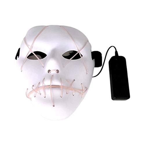 Halloween Kleidung Festivalpartys Gruselige Maske LED Leuchtmasken, EL Draht leuchten for Festivalparty, Tanzball, Rave Cosplay, Weiß - Guten Rave Kostüm Jungs