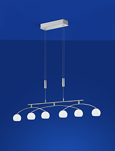 dimmbare LED Pendelleuchte Nickel 6 flammig