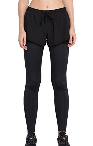 Cody Lundin donna puro black legging falso in due pezzi autunno-inverno moda fitness pantaloni pantaloni di elasticità (L)