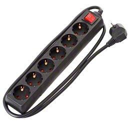 Brennenstuhl multiprise 6-fach avec Schalter, noir - 1,4 m Zuleitung