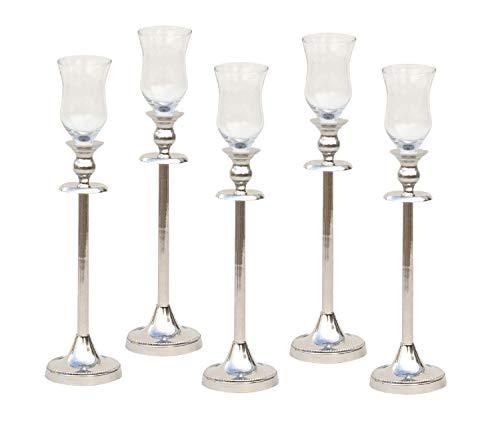 Set 5 Kerzenständer 31 cm mit 5 Stück Glasaufsatz Kerzenleuchter Silber