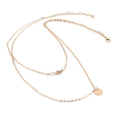 Minimalistische Doppeldecker Taube Runde Pailletten Halskette Geschichtet Einfache Vogel Halskette Schlüsselbein Kette Charme Damenmode ()