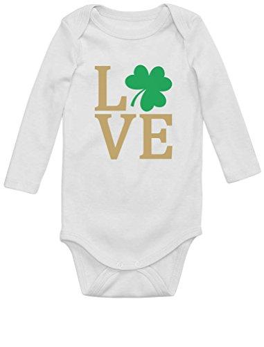 Green Turtle T-Shirts Love- Saint Patrick's Day tréfle Vert Body Bébé Manche Longue 12M Blanc