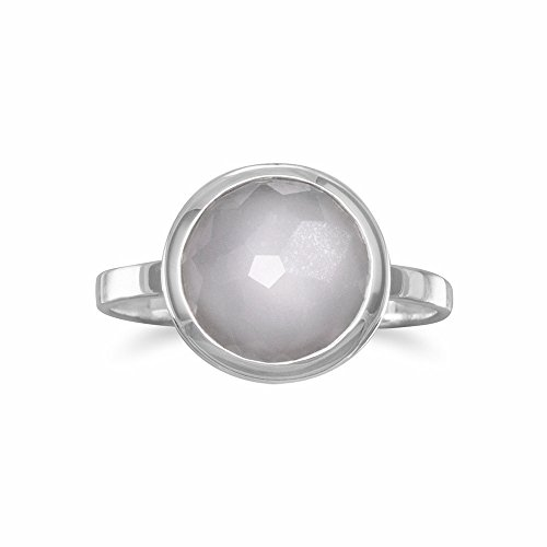Ring Stapelbar Mondstein (Sterling Silber Große Runde Freeform facettierte Mondstein stapelbare Ring)