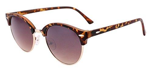 FEISEDY Klassische Kunststoff-Sonnenbrille mit halbrandfreiem, rundem Rahmen für Damen und Herren B1882