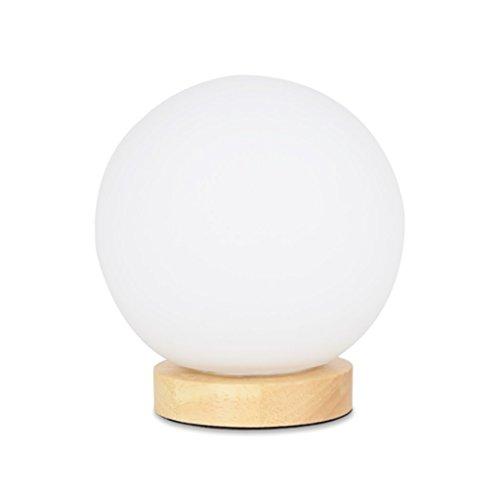 Tabellenlampe Einfache und kreative nordische energiesparende Holz Basis Lampe/Mini Schlafzimmer Nachttischlampe Glas Lampe Abdeckung Lampe Größe: 10 * 16cm Desktop Tischlampe