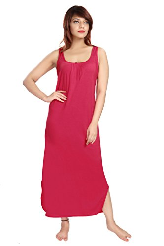 100% Cotton Women's Regular Fit Nighty Gown Slip in Red Color With Broad Strapes & Round Neck Night Inner Wear in Size XXL by City Girl PLUS  available at amazon for Rs.325