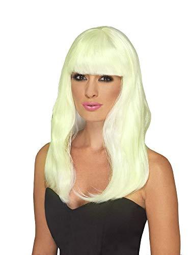 shoperama Fluoreszierende Damen Langhaar Perücke gewellt Pony Disco Queen Showgirl Frisur Leuchtend Glow-in-The-Dark - Glow Dark Kostüm