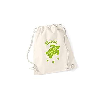 SupaRina Turnbeutel Rucksack für Mädchen mit einer Schildkröte Turtle und Namen in Deiner Wunschfarbe P