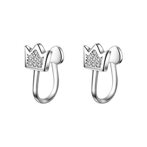 Fenical 1 Paar Frauen Ohrclips Kristall Micro-diamanten Krone Durchbohrte Ohr Manschetten Clips Ohrring Zubehör (Silber)