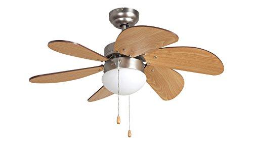Orbegozo CP 15075 N - Ventilador de techo con luz, 6 aspas de madera, silencioso, 3 velocidades de ventilación, 80 cm de diámetro, 50 W de potencia