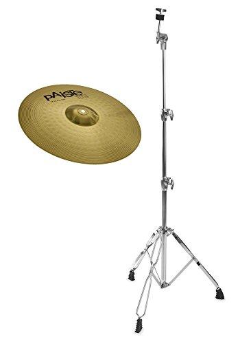 """Paiste 101 Brass 18"""" Crash Ride Set (MS63 Messing, ausgewogener Klang, für jede Stilrichtung geeignet, inkl. gerader Beckenständer)"""