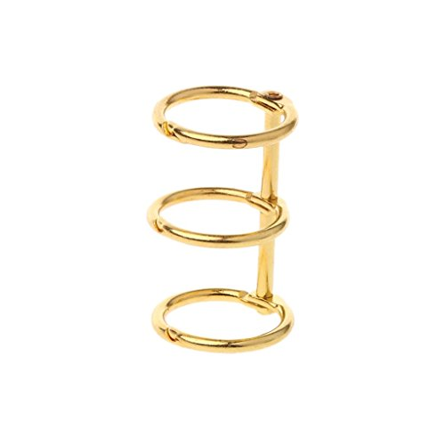 Manyo DIY Metallclip 3 Löcher Ring für Notebook Loose Leaf Tagebuch Fotoalbum Bindung (Gold)