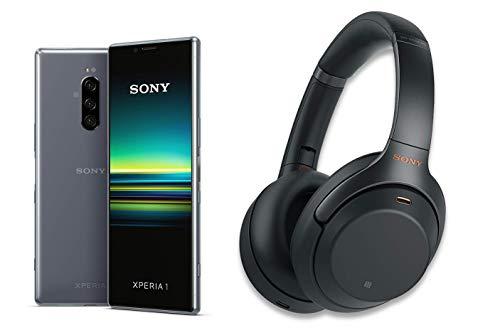 Sony Xperia 1 Smartphone Bundle (16,5 cm (6,5 Zoll) OLED Display, Dual-SIM, 128 GB Speicher, 6 GB RAM, Android 9.0) , Grau + Sony WH-1000XM3 Bluetooth Noise Cancelling Kopfhörer, Schwarz Zoom Bluetooth Kopfhörer