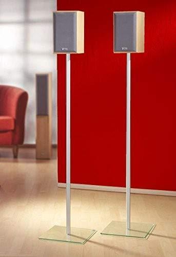 """VCM 2x Boxenständer Lautsprecherständer Lautsprecher Boxen Ständer Alu Glas Standfuss klarglas """"Sulivo Mini"""""""