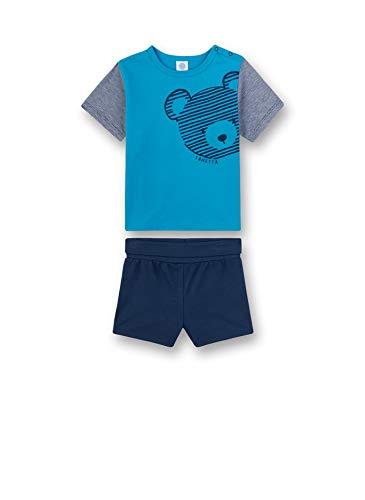 Sanetta Baby-Jungen Pyjama kurz Zweiteiliger Schlafanzug, Türkis (türkis 5641), 92 (Herstellergröße:092)