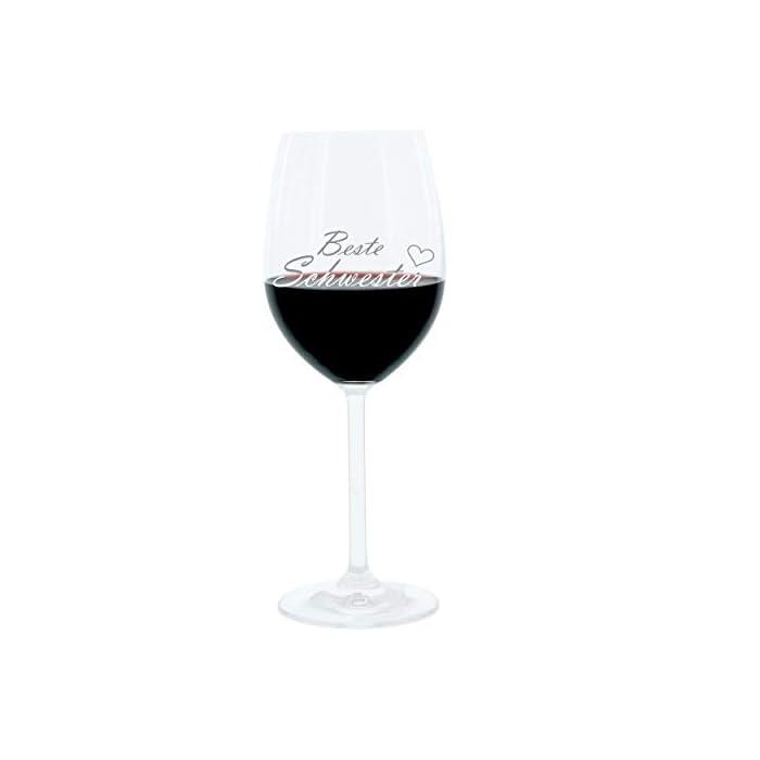 Leonardo Weinglas 400 ml, Beste Schwester, Geschenk Stimmungsglas mit lustiger Gravur, Moodglas, 22 cm