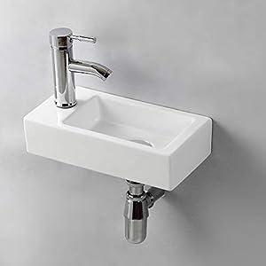 Gimify Lavabo Pequeño Pared Mini Lavamanos Baño Cerámico Blanco 37×18.5x9cm, Izquierda