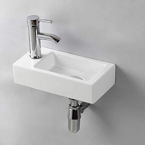 Gimify Lave Main Suspendu Lavabo Mural pour wc (Left Hand 370 * 185 * 90mm)