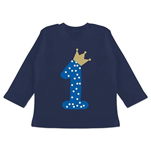 Geburtstag Baby - 1. Geburtstag Krone Junge Erster - 12-18 Monate - Navy Blau - BZ11 - Baby T-Shirt langarm