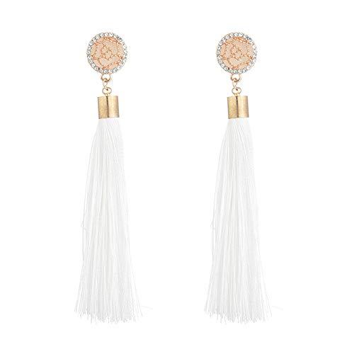Qinlee Quaste Ohrhänger Langer Stil Ohrringe Übertrieben Mode Ohrschmuck Hochzeiten Bankette Party Schmuck für Damen Mädchen (Weiss)