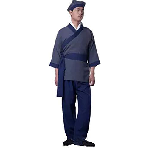 Männer Kostüm Chinesischen Alten - KINDOYO Herren Chinesische Alte Traditionelle Kleidung Zivil Casual Outfit Performances Kostüm, Schwarz/3XL