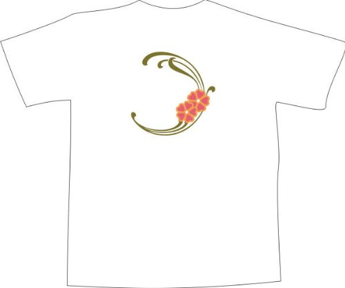 T-Shirt F1069 Schönes T-Shirt mit farbigem Brustaufdruck - schön tribal und Blumen Weiß