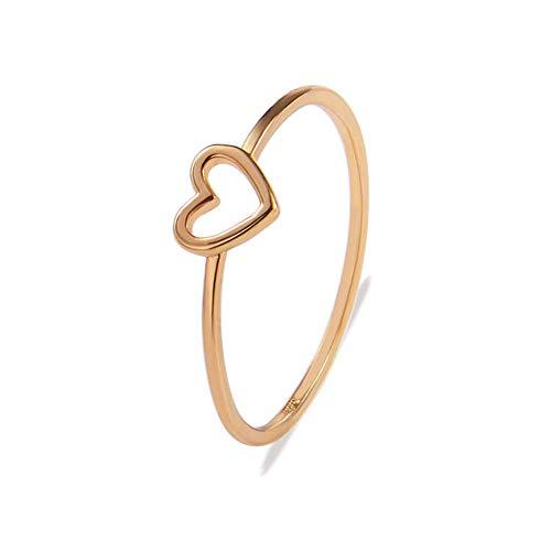 Platte mit Silber romantischer Herzform Ringe für Frauen 9mm (zufällige Farbe) 1 Stück ()