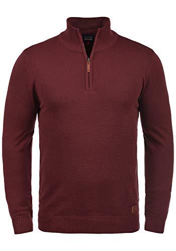 Blend Robin Herren Strickpullover Troyer Feinstrick Pullover Mit Stehkragen Und Reißverschluss, Größe:XXL, Farbe:Andorra Red (73811)