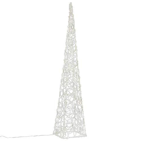 LED Pyramide Lichterkegel - Beleuchtung für Weihnachten innen außen - Acryl-Figur mit Trafo IP44 Timer - 60 Leuchten weiß 90 cm hoch Xmas