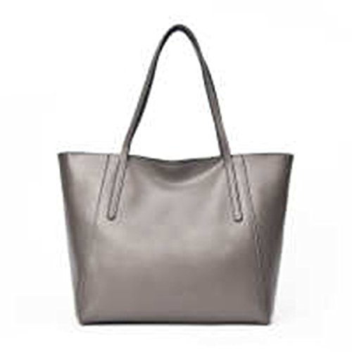 WU Zhi Lady In Pelle Big Bag Borsa A Tracolla Gray