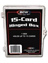 BCW Hinged Box 15 Count - (Hold Thick Memorabilia Cards) Baseball, Football, Basketball, Hockey, Golf, Single Sports Cards Top Load - Sportcards Card Collecting Supplies by BCW