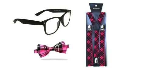 n PINK TARTAN, Streber-Look, Verkleidung, Krawatte und -spangen 80's dweeb Schule (Nerd Kostüm Für Ein Mädchen)