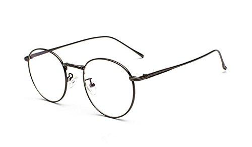 Volon Brille Retro Glasrahmen-Ebenenspiegel Dekobrille Nerdbrille Klassisches Rund Rahmen Glasses
