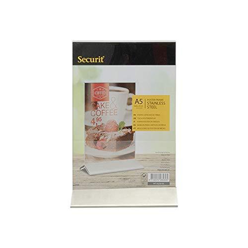Securit - Porta Menù da Tavolo/Porta Poster in plexiglass, con Base in Acciaio Inox, per Tavolo da Hotel e Ristorante