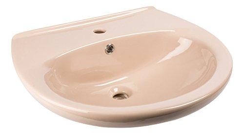 Waschtisch | Waschbecken | Waschplatz | Beige | 60 cm | Braun | Bad | Badezimmer | Gäste-WC | Keramik | Nostalgie | Mit Überlaufschutz