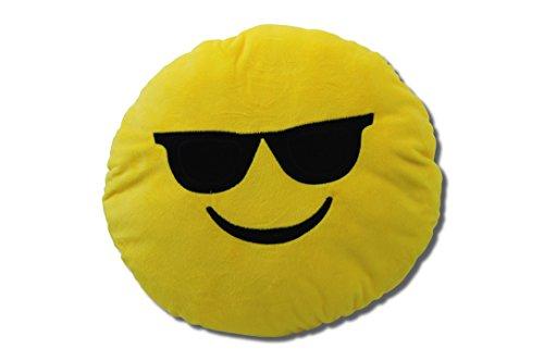 Katara 1788 Emoji Motiv, Tier-Kissen, Smiley Spaßkissen, Emojicon Plüsch Sitzkissen für gemütliche Stunden, Kinderzimmer Sitzsack im witzigen Polster Design, Sonnenbrille
